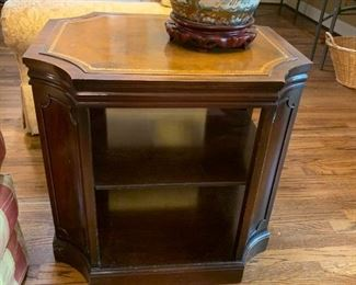 #14	Wood w/Leather Top End Table w/2 bookshelves   26x22x25	 $175.00