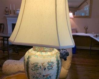 #15Ginger Jar Lamp w/Birds, Butterflies $150.00