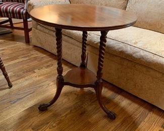 #17Barley Twist leg Round Side Table w/ball & Claw Feet  26x28x $125.00