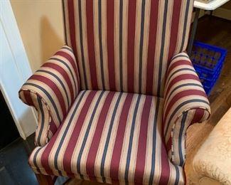 #21Sam Moore Furniture Burgancy/Cream/Navy Side Chair  $75.00