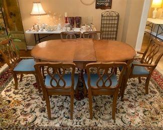 #27BF Huntley Furniture Wood Oval Table w/6 chairs & 1 leaf  43x65-77x30 $180.00
