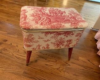 #30Sewing Stool w/lift Top w/Red Toile Fabric 12x19x18$40
