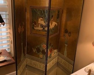 #34Gold-painted & Lacquered 4 panel Screen w/ducks  each panel 16x72 $175.00
