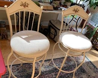 """#39(2) Swivel Metal Bar Stools  29""""T - sold as a pair  (as is seats) $30.00"""