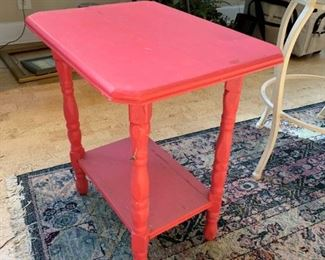 #40Red Painted End Table  14.5x19x21 $20.00