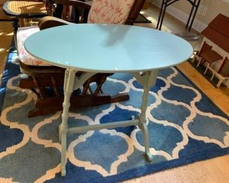 #41Oval Teal Painted End Table  24x14x24 $20.00