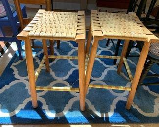 #44(2) Bar Stools w/Oak Basket Weave 16X13X23  $30 each $60.00