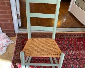 #45Sea Foam Green w/Basket Weave Seat Sewing Rocker  $45.00