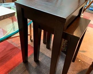 """#49Wood (stacking) tables  15x17x25, (short one 20""""T) - sold as a pair $100.00"""
