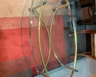 #53Brass Base w/glass oval Top Coffee Table  48x27x16 $75.00