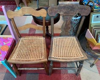 #54Cane Seat wood Odd Dining Chair w/Vertical Slat $25.00  #55Wood Dining Seat w/cane Seat w/slat back $25.00