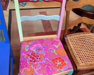 #56Wood multi-color painted wood chair w/fun fabric on Seat $20.00
