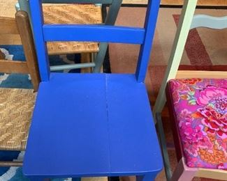 #57Blue Painted Wood Side Chair $20.00