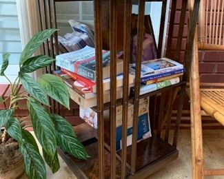 #60Wood Spining BookShelf End Table - (Inlay shell)  17sq x 32$150