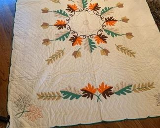 #79Hand-Embroidered Fall Leaf Full Size Quilt - Hand Quilted $75.00