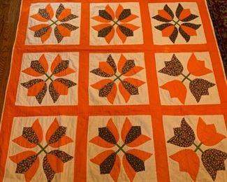 #80Twin orange Tulip Pattern Quilt  $75.00