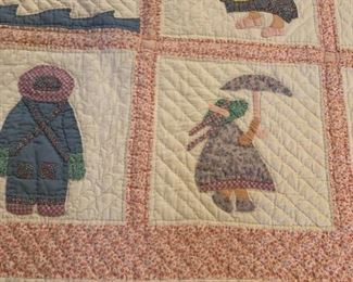 #83Sonbonnet Sue and Little Boy Blue Twin Hand-quilted Quilt  $90.00
