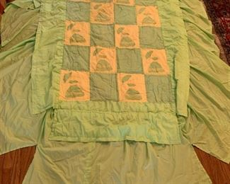 #92Green Sonbonnet Sue Hand-quilted w/Double Ruffles on Sides $75.00