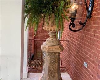 #1042 pc. Concrete Detailed Pedistal Planters  39-62 $500 (good one) $400 (cracked Base) $900.00