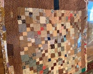 #108Brown Scrappy Full Size Hand-quilted Hand-Tyed Quilt $50.00