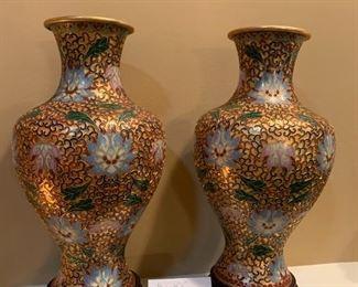 #109Cloisonne Vases w/wood bases - Pair 12.5 $80.00