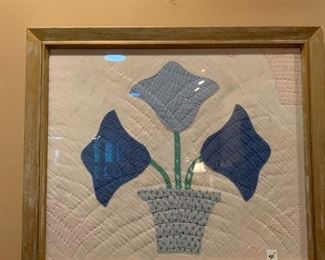 #110Framed Hand-quilted Basket of tulips $50.00