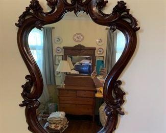 #113Mahogany Wood Carved Mirror   26x42 $75.00