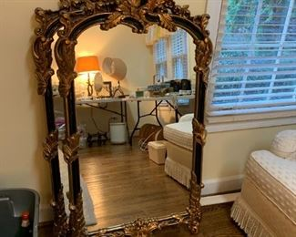 #123(2) Black & Gold Carved Mirrors 28x52   $75 each $150.00