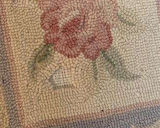 #127Needlepoint Hand-hooked Rug - as is Stitching  94x132 $75.00