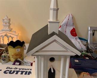 #128Hand-made Birdhouse Church $75.00