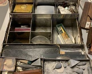#166Leather Fishing Tackle Box - w/contents $50.00