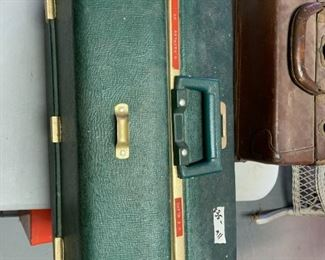 #167Green Plastic Tackle Box w/contents $35.00