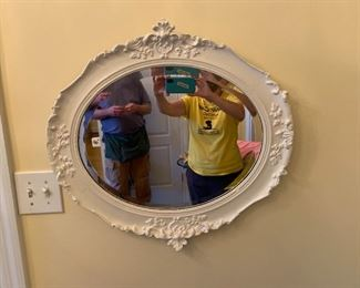 #190White Carved oval Mirror $40.00