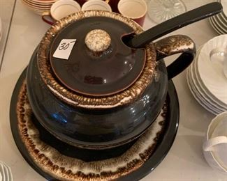 #203 BrownBrown pottery soup taring 4 piece $30