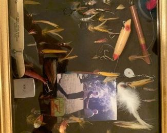 #194shadow box of fly fishing flyes  $75.00