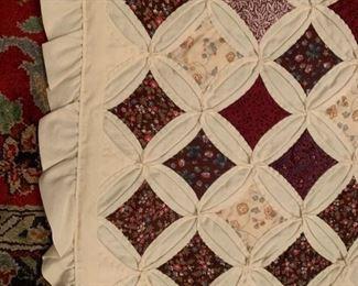 #195quilttwin stainglass pattern brown cream quilt $75.00  #196quiltTwin stainglass pattern brown cream quilt with ruffle $75.00