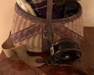 #198fishantique fly fishing basket w reel $40.00