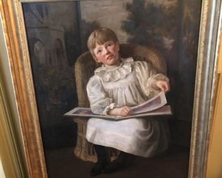 """YOUNG VICTORIAN GIRL READING OIL ON CANVAS WITH HEAVY GILT FRAME - EXQUISITE DETAILING 54"""" X 44.5"""""""