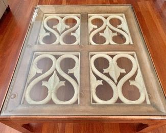 """$450 - Henredon large glass top coffee table with metal detail.  53.5"""" W, 48"""" D, 20.5"""" H."""