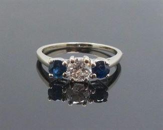 Vintage 14k White Gold Diamond Sapphire Ladies Ring