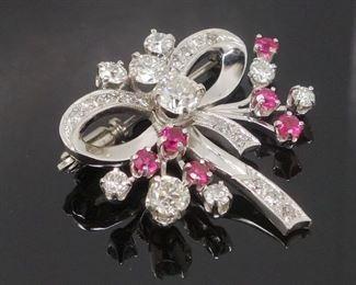Vintage 1940s/50s 14k White Gold Diamond Ruby Bow Pin