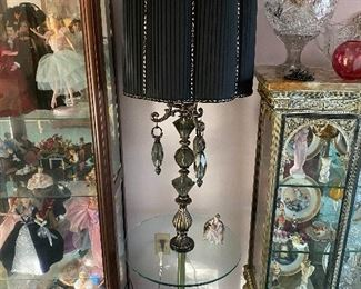 Beautiful Floor Lamp with Smokey Crystal Drops