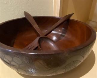 Vintage Santo Domingo Mahogany wooden salad bowl
