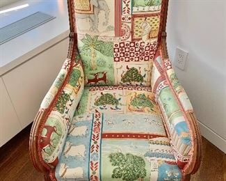 "$795; Vintage rosewood custom upholstered chair. Clarence House fabric;  37.5""H x 25.5""W x 30""D (seat height 12""H)"