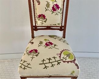 """$295; Vintage rosewood custom upholstered chair. 35.5""""H x 35""""W x 20""""D (seat height 18""""H)"""