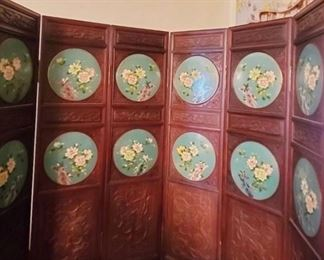 Rosewood and Cloissone 6 Panel Screen rare to find