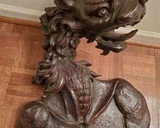 Large carved wood hanging dragon head