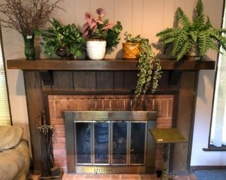 Greenery with fireplace essentials and small green table