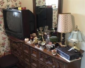 Dresser, TV, & collectibles
