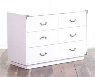 White Triple Drawer Dresser With Accent Handles